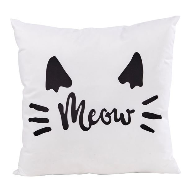 MEOW Coussin blanc Larg. 40 x Long. 40 cm_meow-coussin-blanc-larg--40-x-long--40-cm