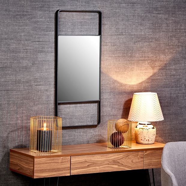 blacky miroir mural noir h 80 x larg 35 x p 3 cm sp cialiste depuis 40 ans d j casa. Black Bedroom Furniture Sets. Home Design Ideas