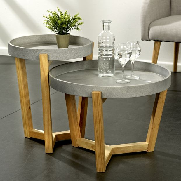 FLEXA Table d'appoint gris, naturel_flexa-table-d'appoint-gris,-naturel