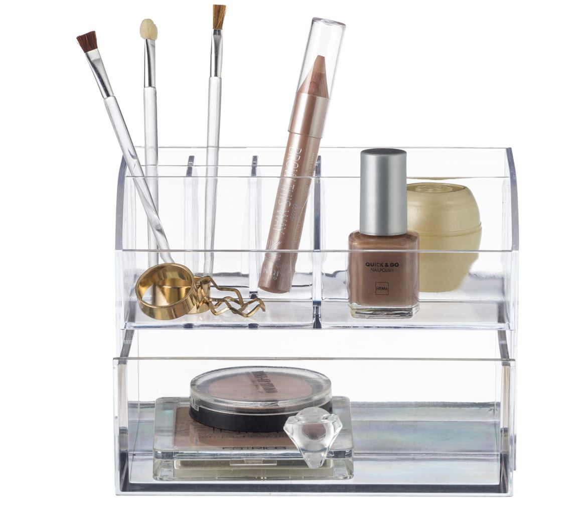 COSMETIC Make-Up Organizer Mit Schublade Transparent H 10 x B 14 x T 11 cm_cosmetic-make-up-organizer-mit-schublade-transparent-h-10-x-b-14-x-t-11-cm