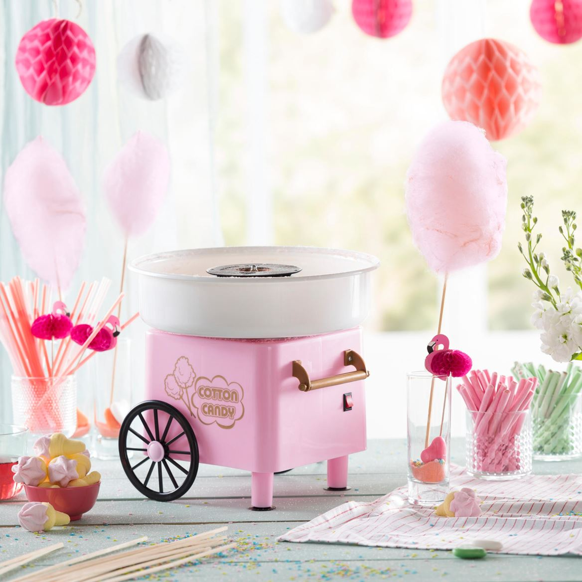 COTTON CANDY Machine barbe à papa rose H 28,5 cm; Ø 29 cm_cotton-candy-machine-barbe-à-papa-rose-h-28,5-cm;-ø-29-cm