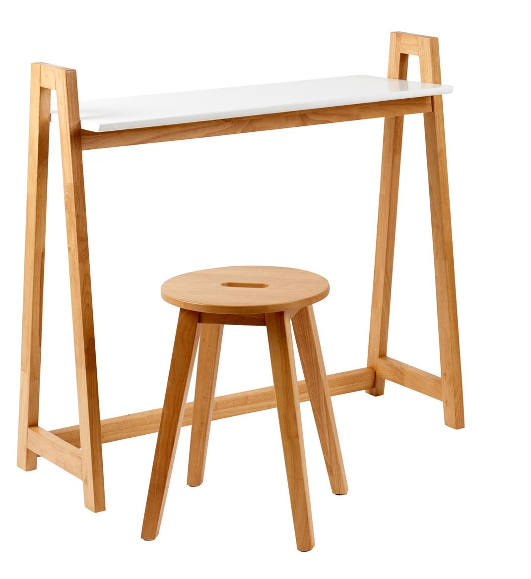 Vito Table Murale Blanc Naturel H 85 X Larg 35 X Long 90 Cm