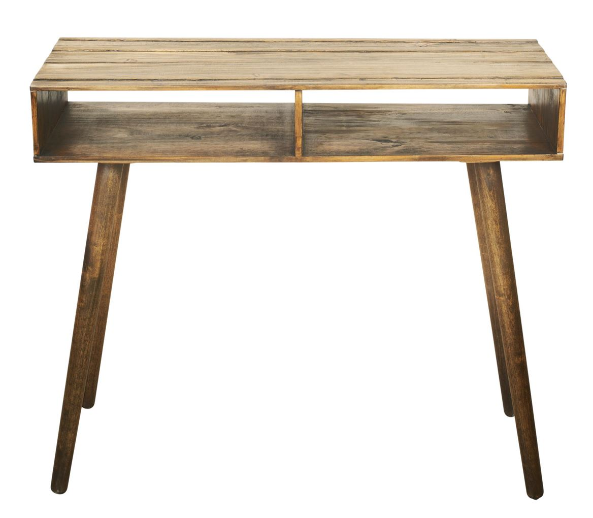 Vintage Table Murale Brun Naturel H 78 X Larg 30 X Long 90 Cm
