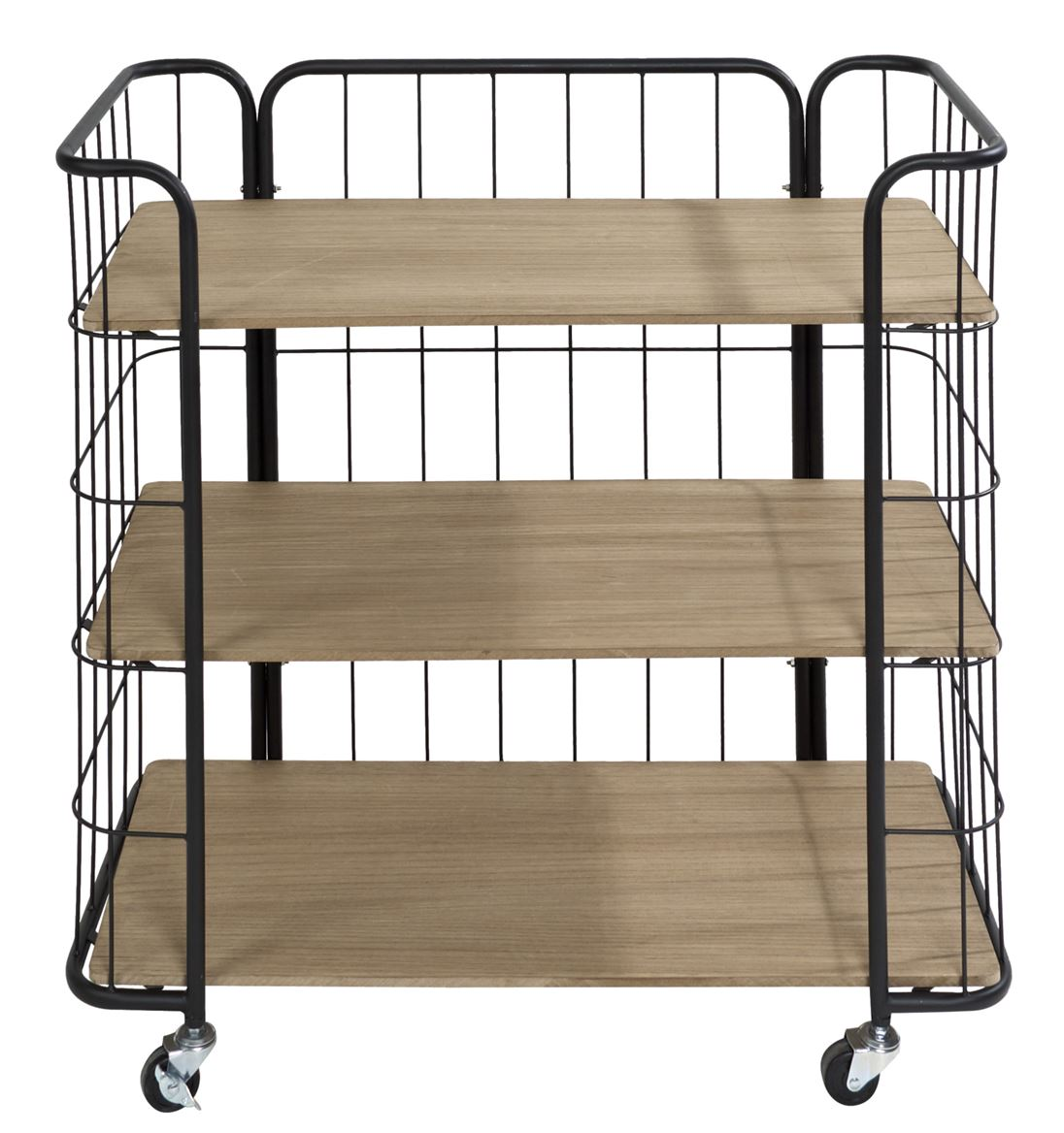 OSLO Étagère trolley 3 tablettes noir, naturel H 82 x Long. 83 x P 40 cm_oslo-étagère-trolley-3-tablettes-noir,-naturel-h-82-x-long--83-x-p-40-cm