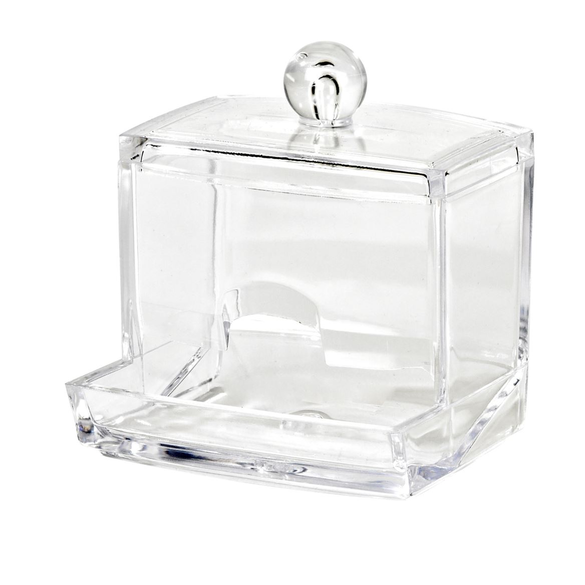 COSMETIC Porte-cotons-tiges transparent H 10 x Larg. 8 x P 8,8 cm_cosmetic-porte-cotons-tiges-transparent-h-10-x-larg--8-x-p-8,8-cm