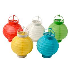 PARTY Lanternes set de 5 diverses couleurs H 17 cm; Ø 15 cm