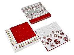 NOEL Set de 20 serviettes rouge Larg. 33 x Long. 33 cm