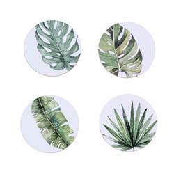 JUNGLE LEAF Glasonderzetters set van 4 groen H 0,5 cm; Ø 10 cm