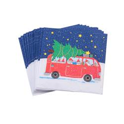 BUS&XMAS TREE Set de 20 serviettes