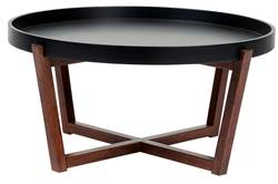 DRACO Table de salon noir, brun H 40 cm; Ø 84 cm