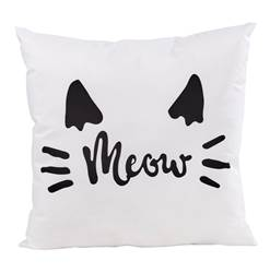 MEOW Coussin blanc Larg. 40 x Long. 40 cm