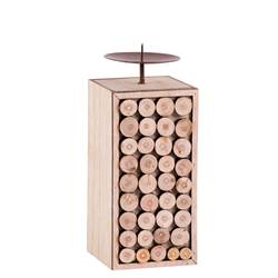 TIMBER Candeliere naturale H 19,5 x W 8 x D 8 cm