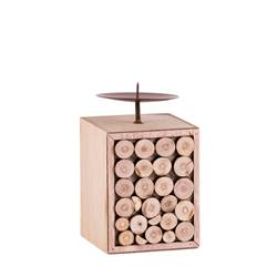 TIMBER Candeliere naturale H 13,5 x W 8 x D 8 cm