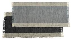 LEATHER Tapis noir, gris Larg. 70 x Long. 140 cm