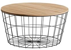 WIRE XL Table d'appoint XL noir, naturel H 34,5 cm; Ø 67 cm