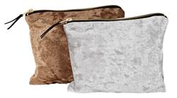 LUXURIOUS  Trousse de maquillage 2 couleurs argent, bronze Larg. 16,5 x Long. 21 cm