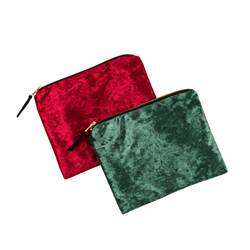 LUXURIOUS Bolsa maquillaje 2 colores rojo oscuro, verde oscuro An. 16,5 x L 21 cm