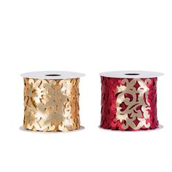 ROCCO Band 2 Farben Rot, Gold H 8 x L 300 cm