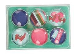 LLAMA Aimants set de 6 multicolore Ø 3 cm