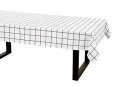 CHECKERS Mantel negro, blanco An. 140 x L 250 cm