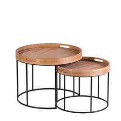 HOUSTON Tables d'appoint set de 2 brun
