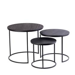 TRIP Tables d'appoint set de 3 noir
