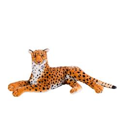 CHEETAH Animal en peluche noir, orange H 34 x Long. 73 cm