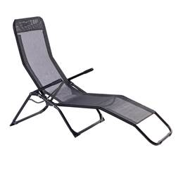 NEW SIESTA Chaise longue noir H 93 x Long. 186 x P 60 cm