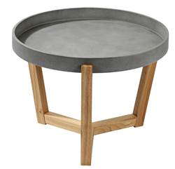 FLEXA  Table d'appoint gris, naturel H 40 cm; Ø 55 cm