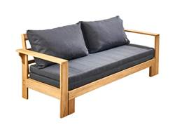 FLORENCE Banc lounge extensible noir, naturel H 74 x Long. 190 x P 72 cm