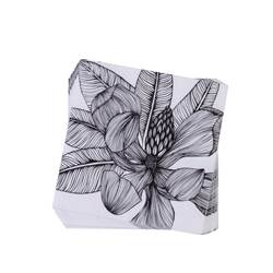 TROPICAL FLOWER Set de 20 serviettes noir Larg. 33 x Long. 33 cm
