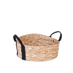 BELLA Cesta decorativa negro, natural A 13 cm; Ø 35 cm