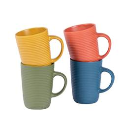 ENJOYTIME Mug 4 couleurs orange, jaune, vert, bleu