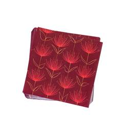 FLOWERS FIRE RED Paquete de 20 servilletas rojo An. 33 x L 33 cm