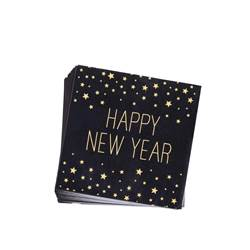 HAPPY YEAR BLACK Paquete de 20 servilletas negro An. 33 x L 33 cm
