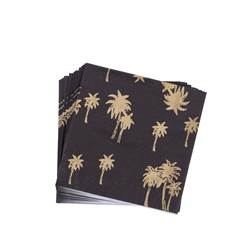 GOLD PALM Set 20 Servietten Schwarz, Gold B 33 x L 33 cm