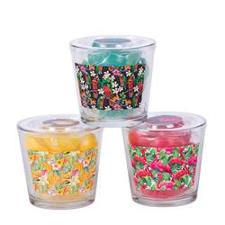 TROPICAL Bougies flottantes set de 10 jaune, vert, rose H 12,5 cm; Ø 13,5 cm