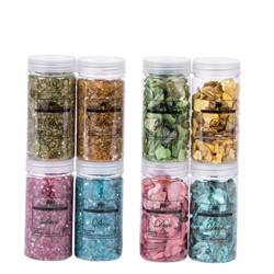 CRUSHED Coquillages verre rose, turquoise, ocre, olive