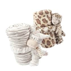 JUNGLE Peluche avec plaid diverses couleurs H 25 cm