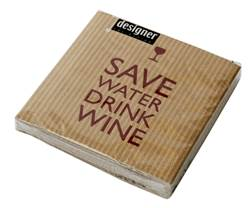 SAVE WATER Set de 20 serviettes Larg. 25 x Long. 25 cm
